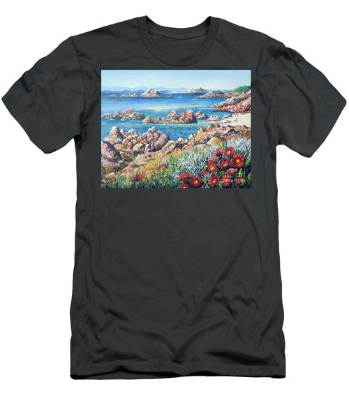 Italian Coastline Men's T-Shirt (Slim Fit) by Lou Ann Bagnall