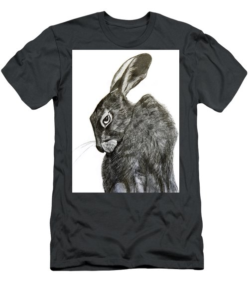 Men's T-Shirt (Slim Fit) featuring the drawing Jackrabbit Jock by Linde Townsend