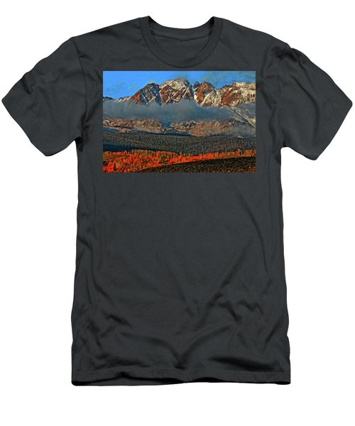 Men's T-Shirt (Slim Fit) featuring the photograph Jagged Peaks Fall by Scott Mahon