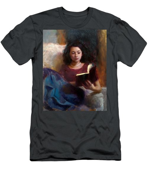 Jaidyn Reading A Book 1 - Portrait Of Young Woman - Girls Who Read - Books In Art Men's T-Shirt (Athletic Fit)