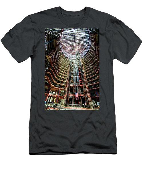Men's T-Shirt (Slim Fit) featuring the photograph James R Thompson Center Interior Chicago by Deborah Smolinske