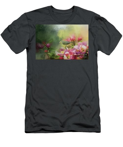 Japanese White-eye On A Blooming Tree Men's T-Shirt (Slim Fit) by Eva Lechner