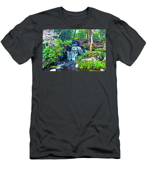 Japanese Waterfall Garden Men's T-Shirt (Athletic Fit)
