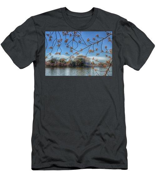 Jefferson Memorial - Cherry Blossoms Men's T-Shirt (Slim Fit) by Marianna Mills