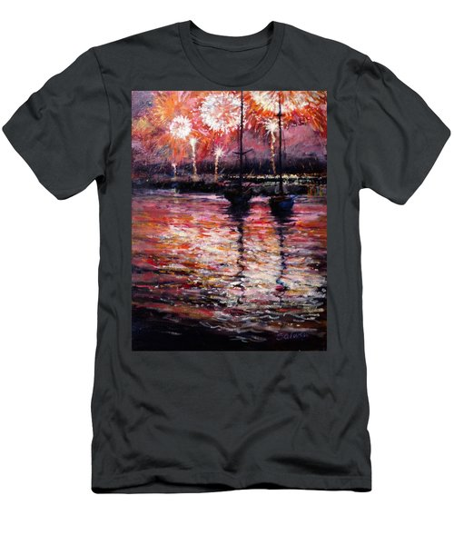 July Fourth Fireworks On The Hudson Men's T-Shirt (Athletic Fit)