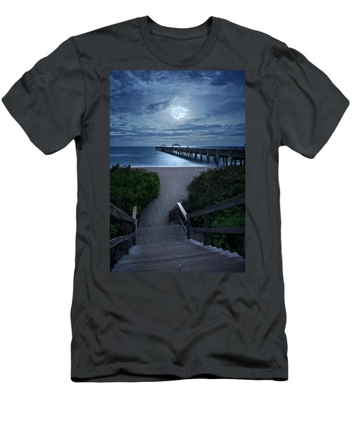 Juno Pier Stairs To Beach Under Full Moon Men's T-Shirt (Athletic Fit)