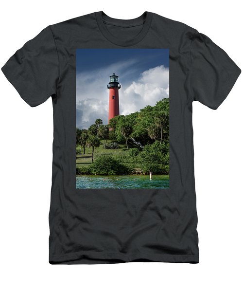 Jupiter Inlet Lighthouse Men's T-Shirt (Slim Fit) by Laura Fasulo