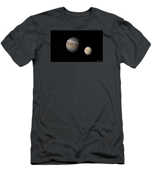 Men's T-Shirt (Slim Fit) featuring the digital art Jupiter With Io And Europa by David Robinson