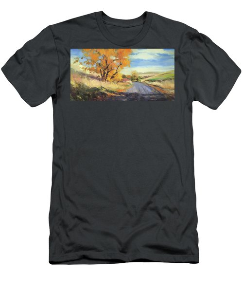 Men's T-Shirt (Athletic Fit) featuring the painting Just Around The Corner by Steve Henderson
