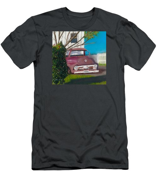 Men's T-Shirt (Slim Fit) featuring the painting Just Up The Road by Arlene Crafton