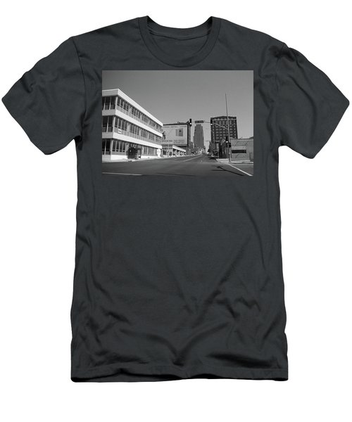 Men's T-Shirt (Slim Fit) featuring the photograph Kansas City - 18th Street Bw by Frank Romeo