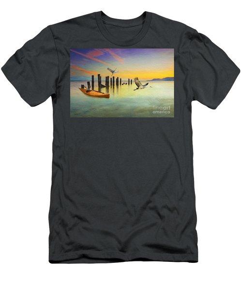 Kayak And Cranes Men's T-Shirt (Athletic Fit)
