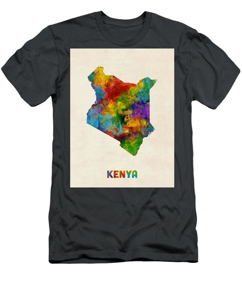 Men's T-Shirt (Slim Fit) featuring the digital art Kenya Watercolor Map by Michael Tompsett