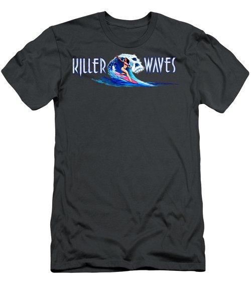 Killer Waves Skull Pink Men's T-Shirt (Athletic Fit)