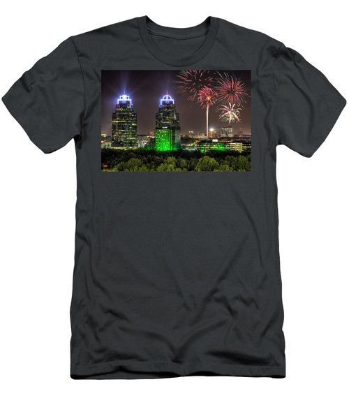 Men's T-Shirt (Slim Fit) featuring the photograph King And Queen Buildings Fireworks by Anna Rumiantseva