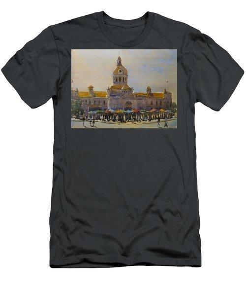 Kingston-city Hall Market Morning Men's T-Shirt (Slim Fit) by David Gilmore