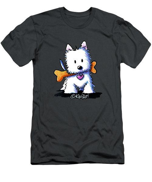 Kiniart Westie With Bone Men's T-Shirt (Athletic Fit)