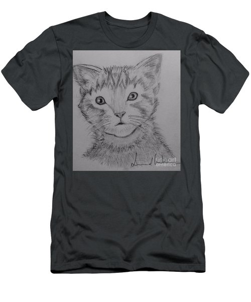 Men's T-Shirt (Slim Fit) featuring the painting Kitten by Brindha Naveen