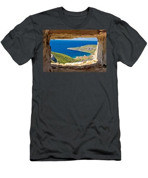 Komiza Bay Aerial View Through Stone Window Men's T-Shirt (Athletic Fit)
