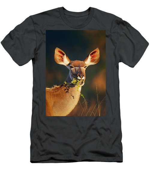 Kudu Portrait Eating Green Leaves Men's T-Shirt (Athletic Fit)