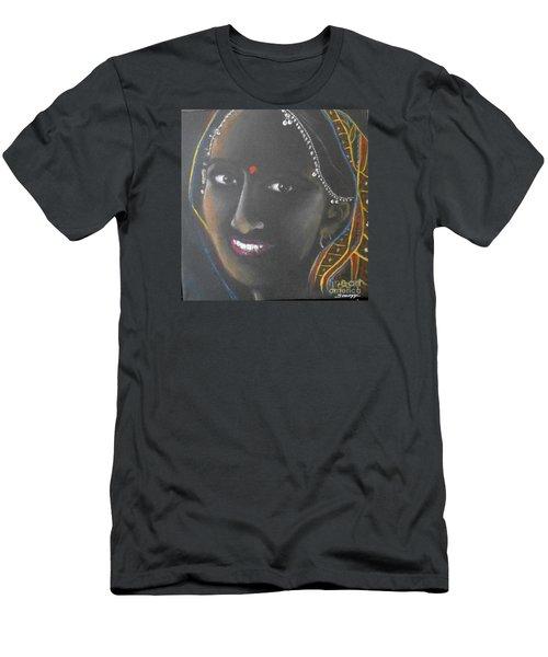 Kumkuma -- Close-up Portrait Of Indian Woman Men's T-Shirt (Athletic Fit)