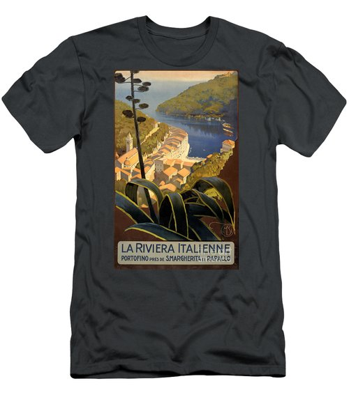 La Riviera Italienne Vintage Travel Poster Restored Men's T-Shirt (Athletic Fit)