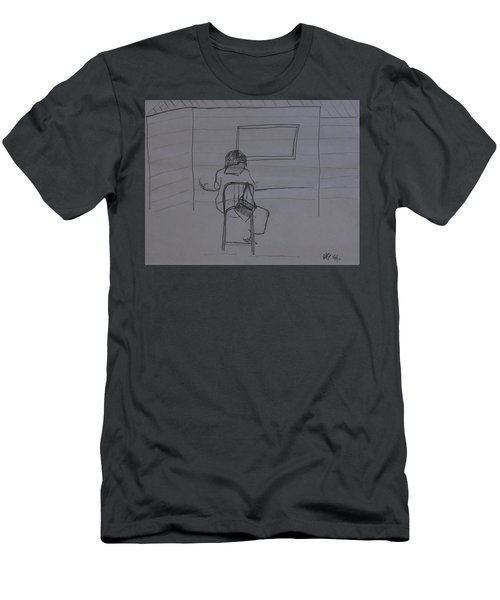 Lady Drawing At Table Men's T-Shirt (Athletic Fit)