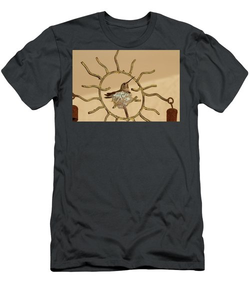 Lady Hummingbird On Her Nest Men's T-Shirt (Athletic Fit)