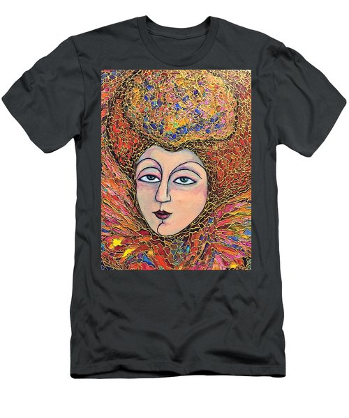 Men's T-Shirt (Slim Fit) featuring the painting Lady-in-waiting by Rae Chichilnitsky
