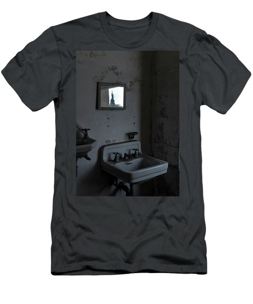 Men's T-Shirt (Athletic Fit) featuring the photograph Lady Liberty In The Mirror by Tom Singleton