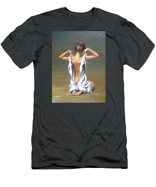 Men's T-Shirt (Slim Fit) featuring the painting Lady by Natalia Tejera