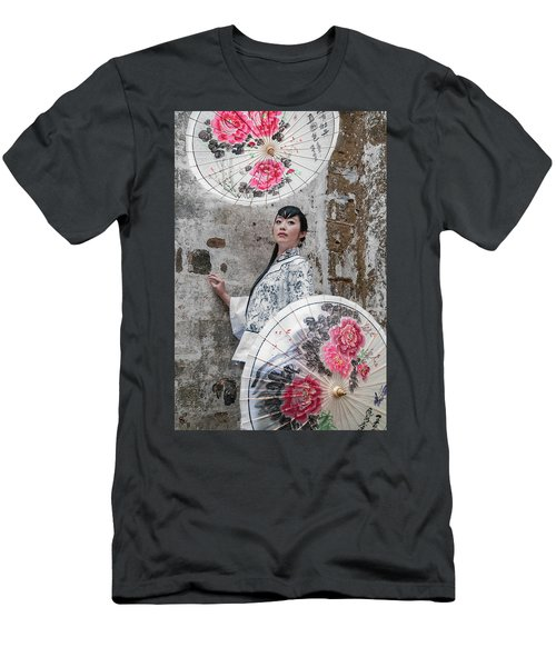 Lady With An Umbrella. Men's T-Shirt (Athletic Fit)