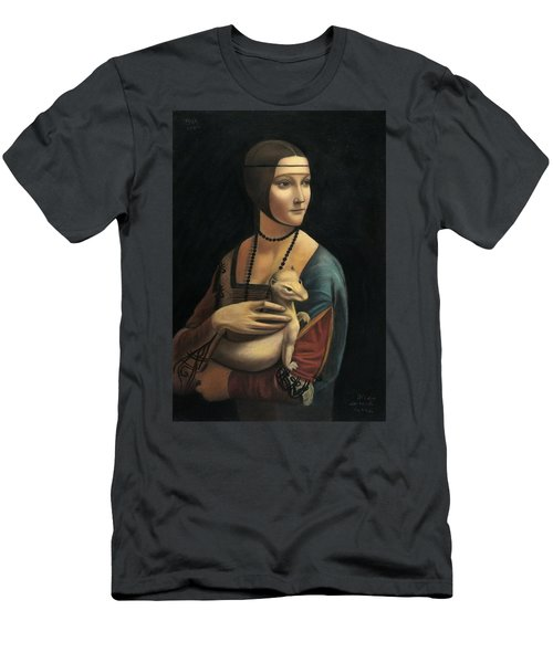 Lady With Ermine - Pastel Men's T-Shirt (Slim Fit) by Vishvesh Tadsare
