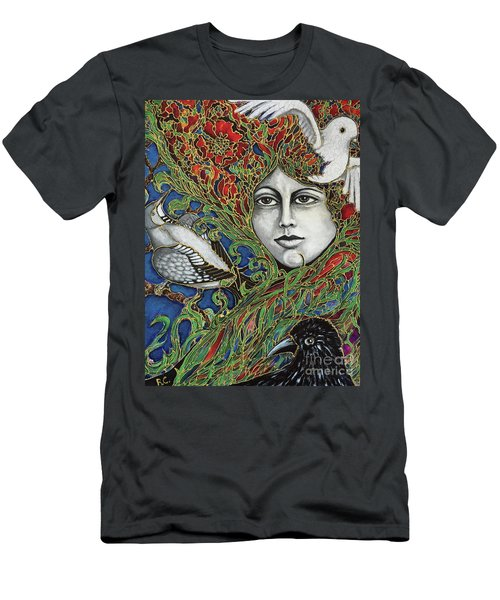 Men's T-Shirt (Slim Fit) featuring the painting Ladybird by Rae Chichilnitsky