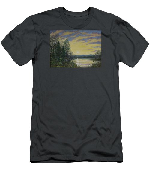 Men's T-Shirt (Slim Fit) featuring the painting Lake Dawn by Kathleen McDermott
