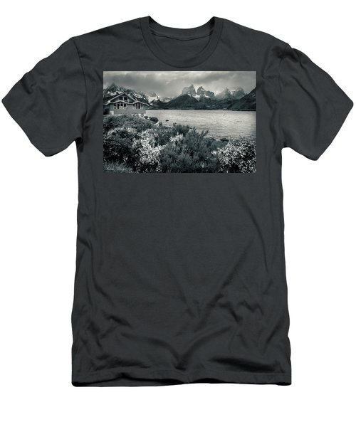 Men's T-Shirt (Slim Fit) featuring the photograph Lake Pehoe In Black And White by Andrew Matwijec