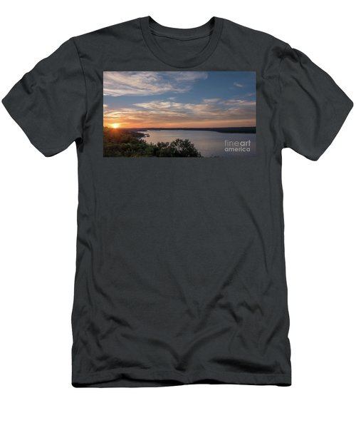 Lake Travis During Sunset With Clouds In The Sky Men's T-Shirt (Athletic Fit)