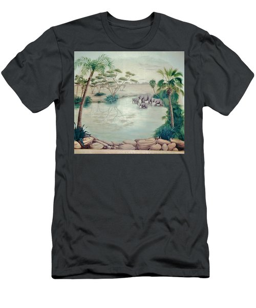 Lake With Oasis And Palm Trees Men's T-Shirt (Athletic Fit)