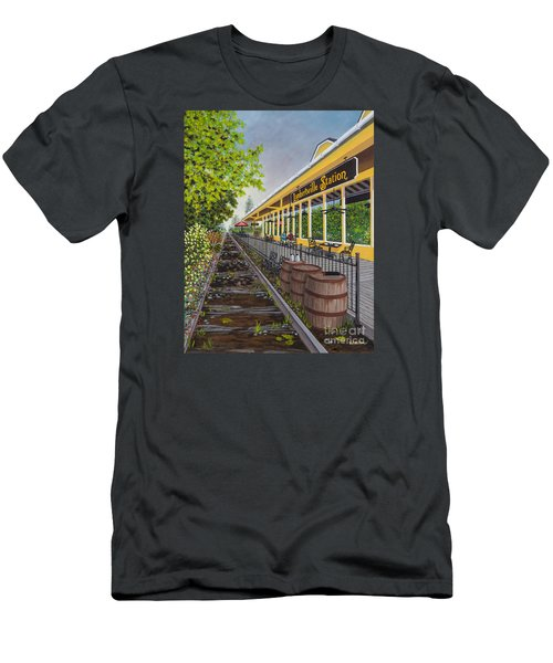 Men's T-Shirt (Slim Fit) featuring the painting Lambertville Station by Val Miller