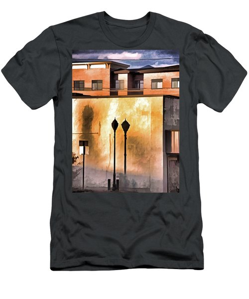Men's T-Shirt (Athletic Fit) featuring the mixed media Lamp Post Shadow And Bent Sign by Lynda Lehmann