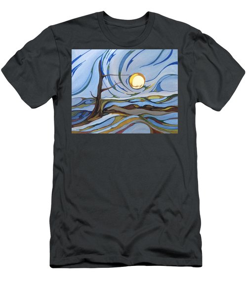 Men's T-Shirt (Slim Fit) featuring the painting Land Of The Midnight Sun by Pat Purdy