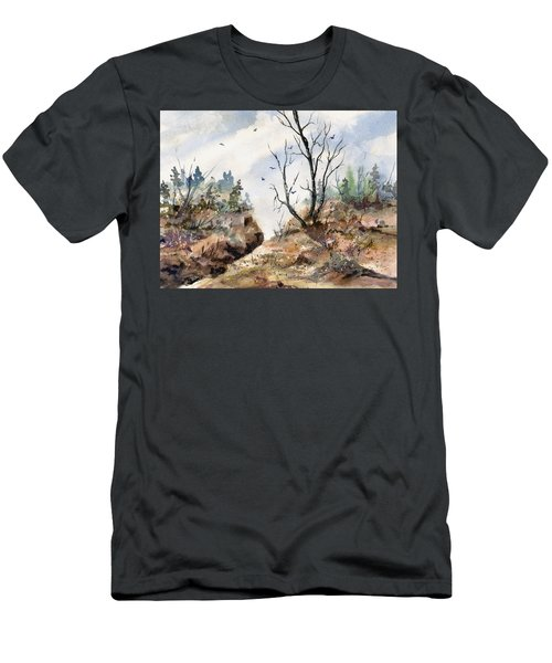Men's T-Shirt (Athletic Fit) featuring the painting Landscape by Sam Sidders