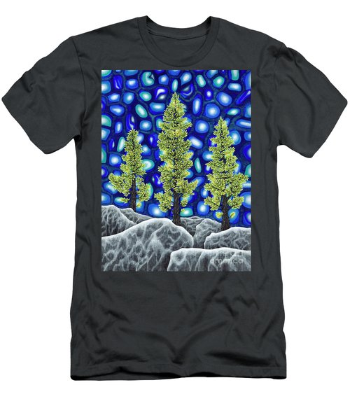 Men's T-Shirt (Slim Fit) featuring the painting Larch Dreams 2 by Rebecca Parker