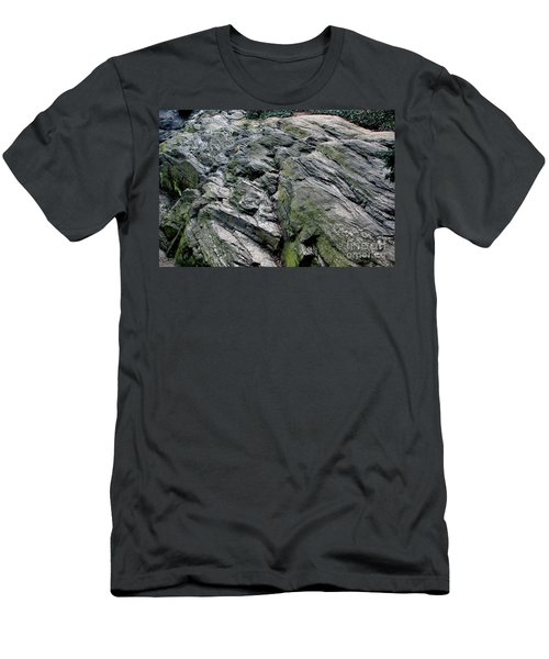 Men's T-Shirt (Slim Fit) featuring the photograph Large Rock At Central Park by Sandy Moulder