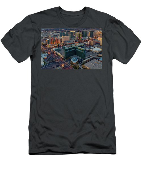 Men's T-Shirt (Slim Fit) featuring the photograph Las Vegas Nv Strip Aerial by Susan Candelario