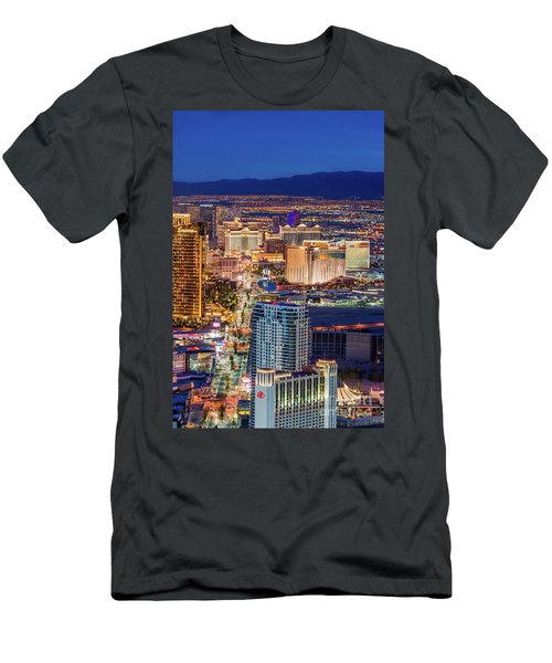 Men's T-Shirt (Slim Fit) featuring the photograph Las Vegas Strip From The Stratosphere Tower by Aloha Art