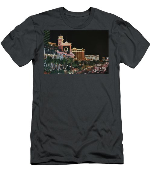 Las Vegas Strip Oil On Canvas Men's T-Shirt (Athletic Fit)