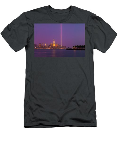 Laser Twin Towers In New York City Men's T-Shirt (Slim Fit) by Ranjay Mitra