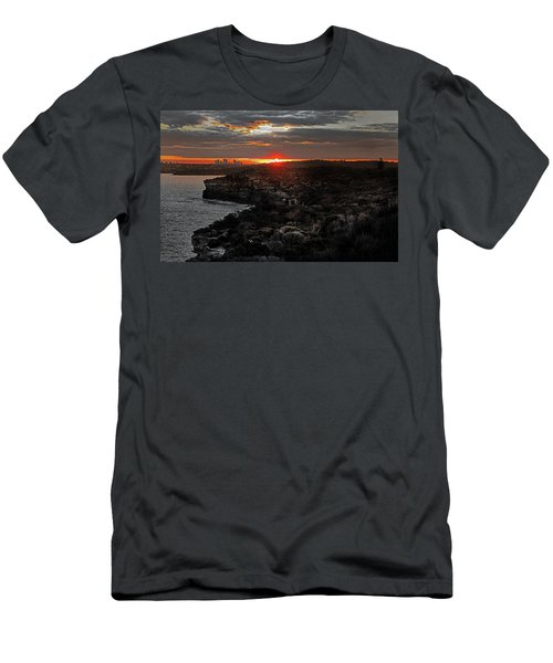 Men's T-Shirt (Athletic Fit) featuring the photograph Last Light Over North Head Sydney by Miroslava Jurcik