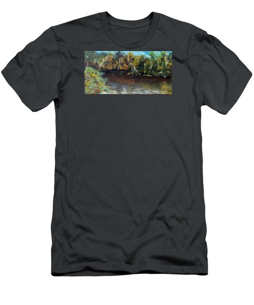 late in the Day on Blue Creek Men's T-Shirt (Slim Fit) by Jim Phillips